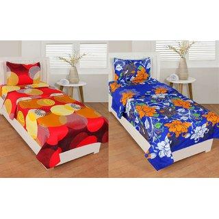 Trendz Home Furnishing 3D HD Printed  Same Design  2 Single Bedsheet 2 Pillow Covers
