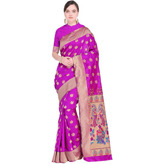 Swaron Pink Poly Silk Jacquard Paithani Saree with Unstitched Blouse