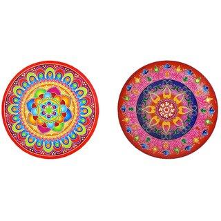 Rangoli Stickers Round 2 pcs. (23.5 cm diameter) - Assorted Designs