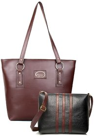 Mammon Women's Multicolor Leatherite Zipper Handbag and Sling Bag (Hs-Combo-3Strip-tb)