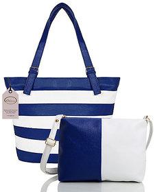 Mammon Women's Letherette Handbag With Sling Bag Combo (Hs-Combo-Belt-Blu, Multicolour)