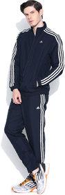 Adidas Navy Polyester Elasticated Long Sleeve Running Zipper Tracksuit For Men