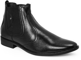 Red Chief Black High Ankle Leather Boot For Men (RC3498 001)