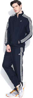 Adidas Navy Polyester Elasticated Long Sleeve Running Zipper Tracksuit For Men
