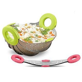 Rewa Foldable Kitchen Colander Drain Basket, Rice Pulses Fruits Vegetable Rice Washing Bowl and Strainer