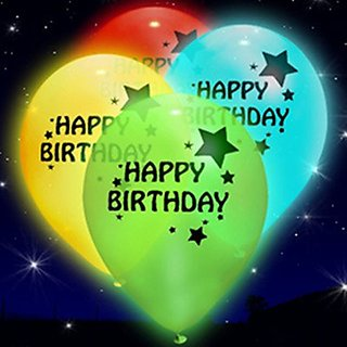 Smartcraft Led Happy Birthday Printed Balloons - Pack of 25  LED Party Supplies  Party Decorations for Party Festival