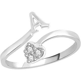 Sukai Jewels Heart Initial 'A'  Rhoidum Plated Alloy  Brass Alpbahet Finger Ring for Women and Girls SAFR103R