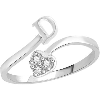 Sukai Jewels Heart Initial 'D'  Rhoidum Plated Alloy & Brass Cubic Zirconia Studded Alpbahet Finger Ring for Women and Girls [SAFR111R]
