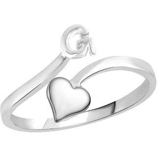 Sukai Jewels Heart Initial 'G'  Rhoidum Plated Alloy  Brass Alpbahet Finger Ring for Women and Girls SAFR116R