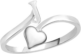 Sukai Jewels Heart Initial 'J'  Rhoidum Plated Alloy & Brass Alpbahet Finger Ring for Women and Girls [SAFR125R]