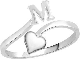 Sukai Jewels Heart Initial 'M'  Rhoidum Plated Alloy & Brass Alpbahet Finger Ring for Women and Girls [SAFR133R]