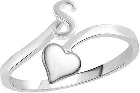 Sukai Jewels Heart Initial 'S'  Rhoidum Plated Alloy  Brass Alpbahet Finger Ring for Women and Girls SAFR150R