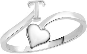 Sukai Jewels Heart Initial 'T'  Rhoidum Plated Alloy & Brass Alpbahet Finger Ring for Women and Girls [SAFR152R]