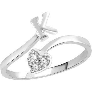 Sukai Jewels Heart Initial 'K'  Rhoidum Plated Alloy & Brass Alpbahet Finger Ring for Women and Girls [SAFR130R]