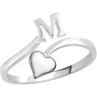 Sukai Jewels Heart Initial 'M'  Rhoidum Plated Alloy & Brass Alpbahet Finger Ring for Women and Girls [SAFR133R]