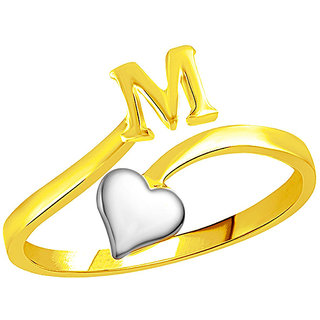 Sukai Jewels Heart Initial 'M'  Gold Plated Alloy & Brass Alpbahet Finger Ring for Women and Girls [SAFR134G]