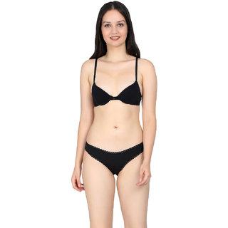 Kotty Women Black Plain Bra Panty Set