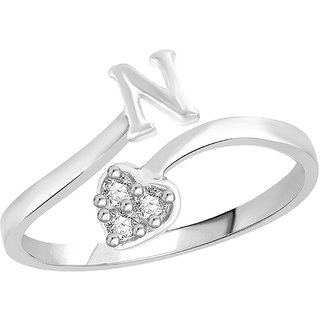 Sukai Jewels Heart Initial 'N'  Rhoidum Plated Alloy & Brass Alpbahet Finger Ring for Women and Girls [SAFR138R]