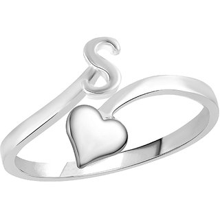 Sukai Jewels Heart Initial 'S'  Rhoidum Plated Alloy  Brass Alpbahet Finger Ring for Women and Girls SAFR150R