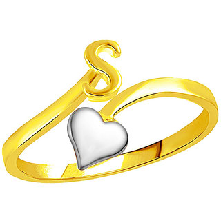 Sukai Jewels Heart Initial 'S'  Gold Plated Alloy & Brass Alpbahet Finger Ring for Women and Girls [SAFR151G]