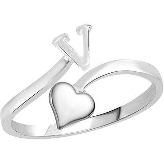 Sukai Jewels Heart Initial 'V'  Rhoidum Plated Alloy & Brass Alpbahet Finger Ring for Women and Girls [SAFR157R]