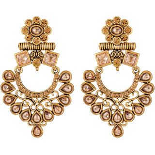 Sukai Jewels Traditional Diamond Studded Gold Plated Zinc Casting Cz American Diamond Drop Earring for Women & Girls [SER128G]