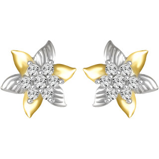 Sukai Jewels Floral Star Gold Plated Alloy cz American Diamond Studded Stud Earring for Women & Girls [SER134G]