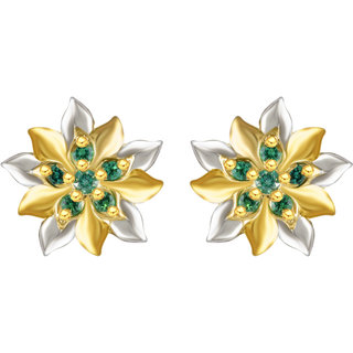 Sukai Jewels Floral Green Ruby Gold Plated Alloy cz American Diamond Studded Stud Earring for Women & Girls [SER135G]