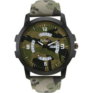 Relish Green Army Dial Day and Date Wrist Watch for Boys and Mens (RE-GA969DD)