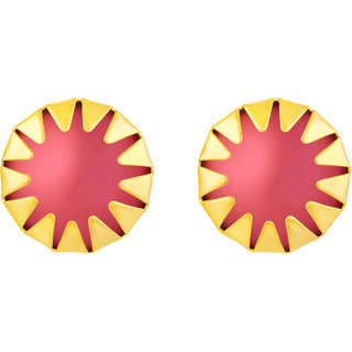 Sukai Jewels Red Pearl Gold Plated Alloy Stud Earring for Women & Girls [SER139G]