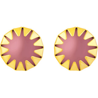 Sukai Jewels Violet Pearl Gold Plated Alloy Stud Earring for Women & Girls [SER140G]