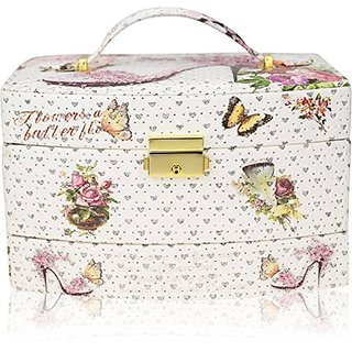 AVMART Leather Cinderella White Vanity Box (AAJEBO022B-1)