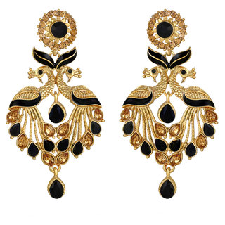Sukai Jewels Black Pearl Peacock Inspired Gold Palted Zinc Cz American Diamond Studded Drop Earring for Women & Girls [SER181G]
