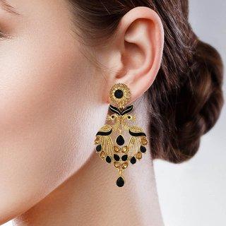 Sukai Jewels Black Pearl Peacock Inspired Gold Palted Zinc Cz American Diamond Studded Drop Earring for Women & Girls [SER181G]
