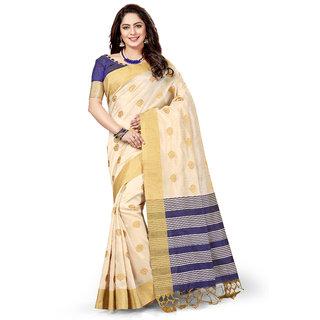 Ashika Traditional Ethnic Chanderi Silk Woven Cream Saree for Women with Blouse Piece