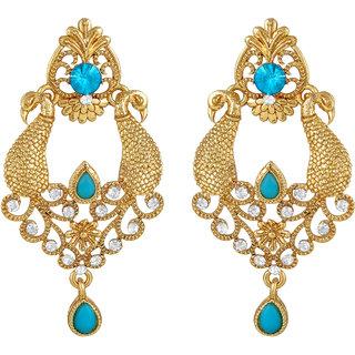 Sukai Jewels Peacock Inspired Gold Plated Zinc Cz American Diamond Studded Drop Earring for Women & Girls [SER157G]