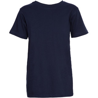 Cliths Boy's Blue Solid Cotton Regular Fit T-Shirt