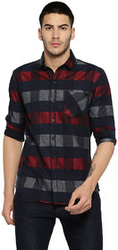 Campus Sutra Men's Black Checks Casual Shirt
