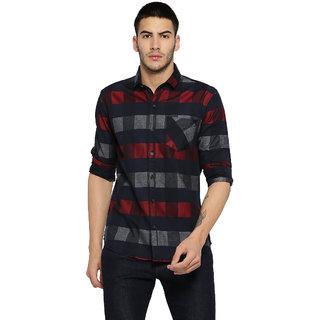 Campus Sutra Men's Black Checks Casual Shirt