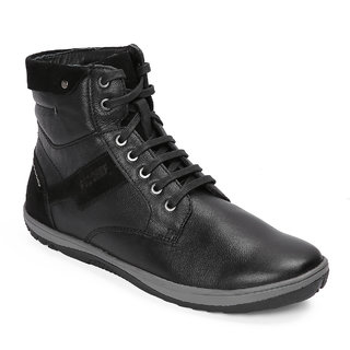 Red Chief Black High Ankle Leather Boot For Men (RC3548 001)
