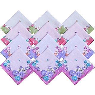 Multicolour GirlsLadies Handkerchief Set Of 12 Pcs