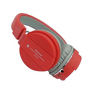 Vinimox SH-12 Wireless Bluetooth Headphone with FM and SD Card Slot with Music and Calling Controls (Red)