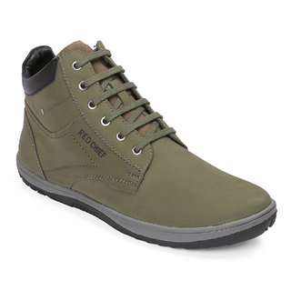 Red Chief Green Mid Ankle Leather Boot For Men (RC3549 025)