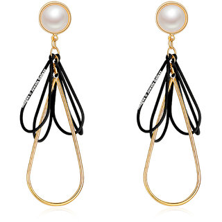 Jewels Galaxy Elegant Pearl Black Gold Plated Contemporary Earrings For Women/Girls