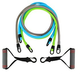 Toning Tube Resistance Band Set - 3 Level Adjustable St