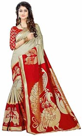 Indian Beauty Women's Multicolor Khadi Printed Saree With Blouse Saree