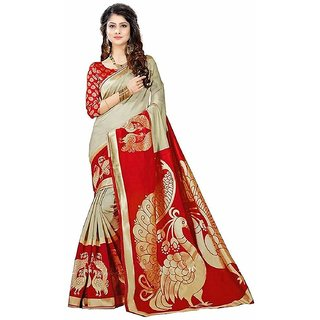 Indian Beauty Multicolor Khadi Printed Saree With Blouse