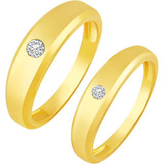 Sukai Jewels Charm Single Solitaire Gold Plated Alloy Cz American Diamond Studded Couple Ring for Women & Men [SCPFR119G]