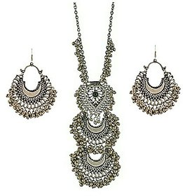 Sparkle Oxidized Silver Boho Necklace Set with earring For Girls/Women