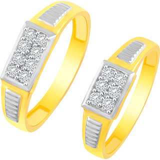 Sukai Jewels Reticular Multiple Solitaire Gold Plated Alloy Cz American Diamond Studded Couple Ring for Women  Men SCPFR131G